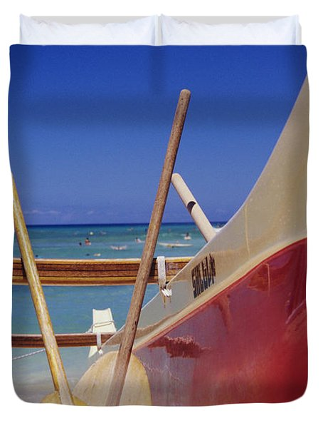 Red And Yellow Canoe Duvet Cover by Joss - Printscapes