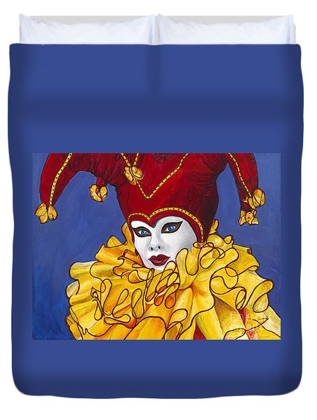 Red And Yellow Carnival Jester Duvet Cover by Patty Vicknair