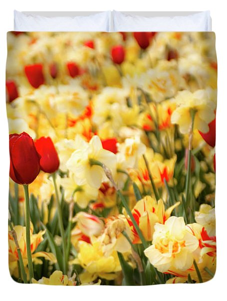 Red And Yellow Duvet Cover by Tamyra Ayles