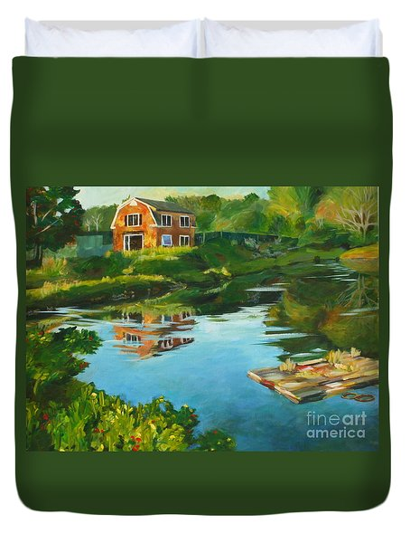 Red Barn In Kennebunkport Me Duvet Cover by Claire Gagnon