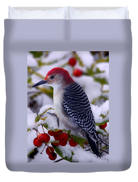 Red Bellied Woodpecker Duvet Cover by Ron Jones