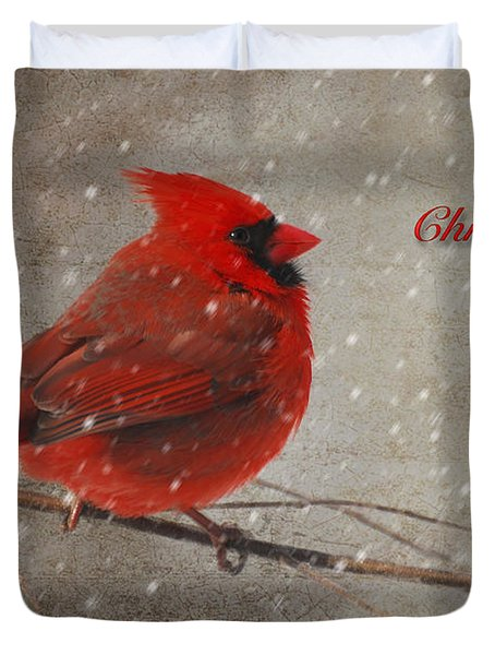 Red Bird In Snow Christmas Card Duvet Cover by Lois Bryan