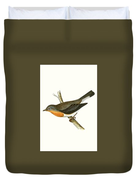 Red Breasted Flycatcher Duvet Cover by English School