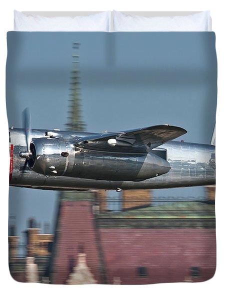 Red Bull North American B-25j Mitchell Duvet Cover by Anton Balakchiev