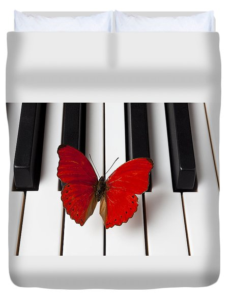 Red Butterfly On Piano Keys Duvet Cover by Garry Gay