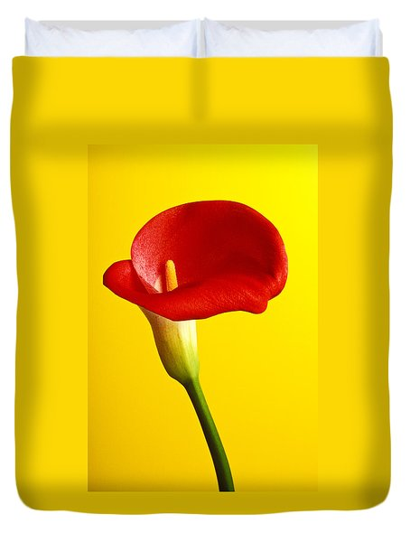 Red Calla Lilly  Duvet Cover by Garry Gay