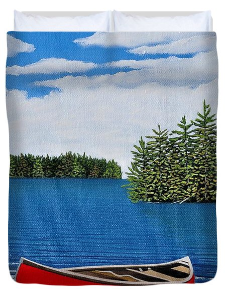 Red Canoe Duvet Cover by Kenneth M  Kirsch