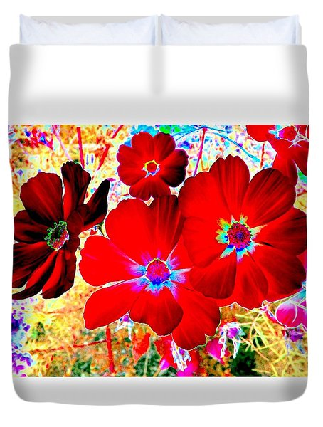 Red Cosmos Duvet Cover by Will Borden