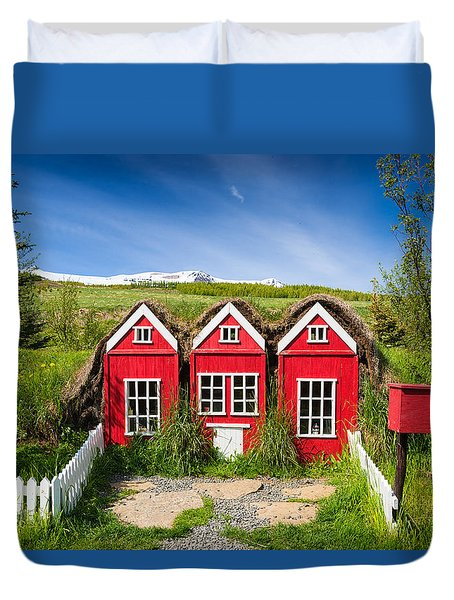 Red Elf Houses In Iceland For The Icelandic Hidden People Duvet Cover by Matthias Hauser