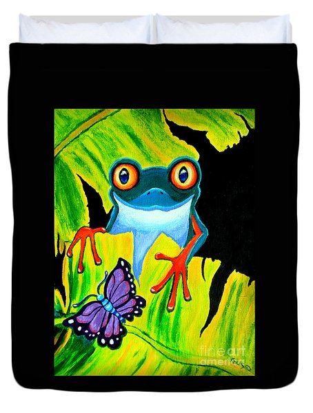 Red Eyed Tree Frog and Purple Butterfly Duvet Cover by Nick Gustafson