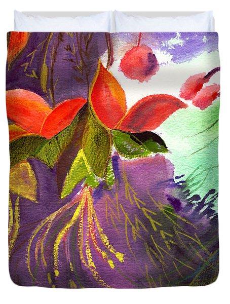 Red Flowers Duvet Cover by Anil Nene