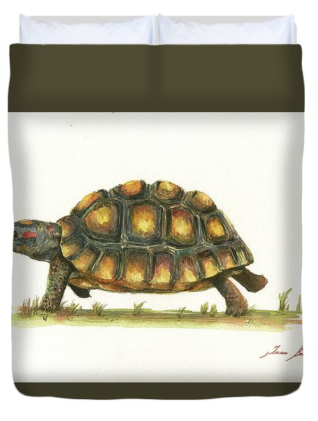 Red Footed Tortoise  Duvet Cover by Juan Bosco