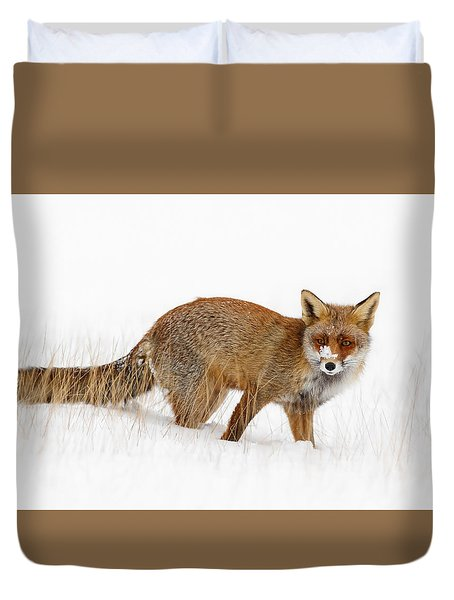 Red Fox In A Snow Covered Scene Duvet Cover by Roeselien Raimond