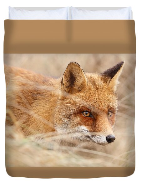Red Fox On The Hunt Duvet Cover by Roeselien Raimond