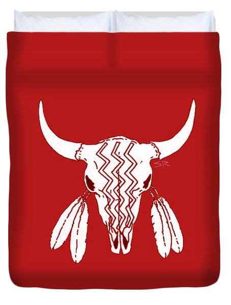 Red Ghost Dance Buffalo Duvet Cover by Steamy Raimon