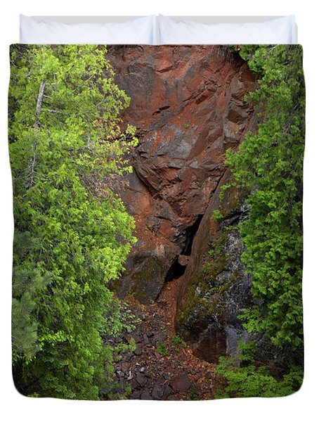 Red Gorge with Cedar Trees Duvet Cover by Cynthia Dickinson