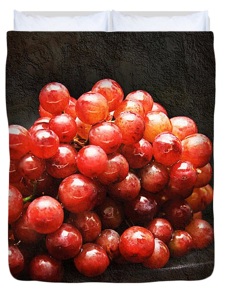 Red Grapes Duvet Cover by Andee Design