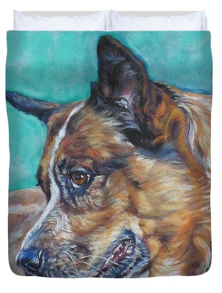 Red Heeler Australian Cattle Dog Duvet Cover by Lee Ann Shepard