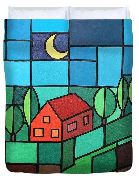 Red House Amidst The Greenery Duvet Cover by Jutta Maria Pusl