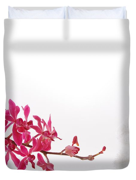 red orchid with towel Duvet Cover by ATIKETTA SANGASAENG