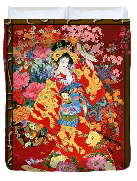 Red Oriental Trio Duvet Cover by Haruyo Morita