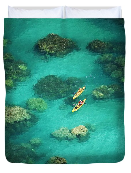 Red Outrigger Canoe Duvet Cover by Ron Dahlquist - Printscapes