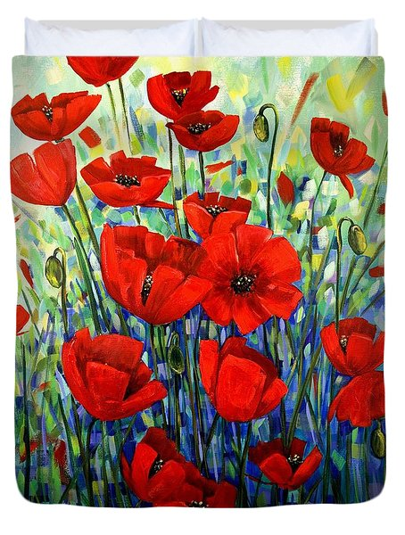 Red Poppies Duvet Cover by Georgia  Mansur