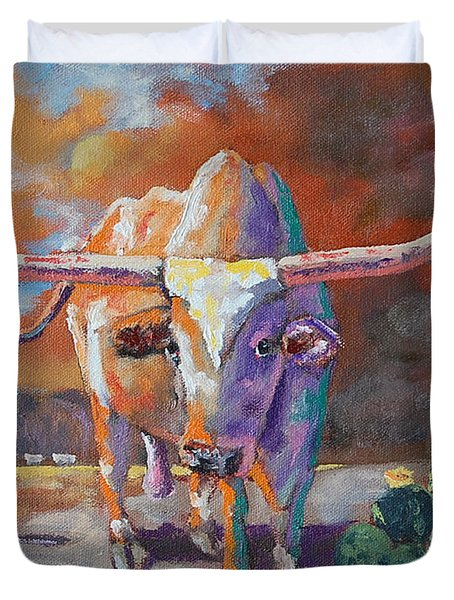 Red River Showdown Duvet Cover by J P Childress