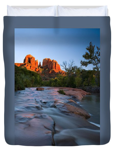Red Rock Sunset Duvet Cover by Mike  Dawson