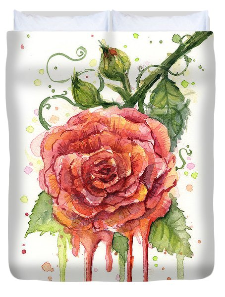 Red Rose Dripping Watercolor  Duvet Cover by Olga Shvartsur