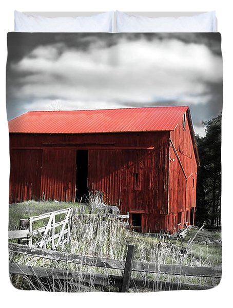 Red Shack Landscape Duvet Cover by Joan  Minchak
