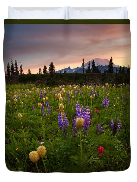 Red Sky Meadow Duvet Cover by Mike  Dawson