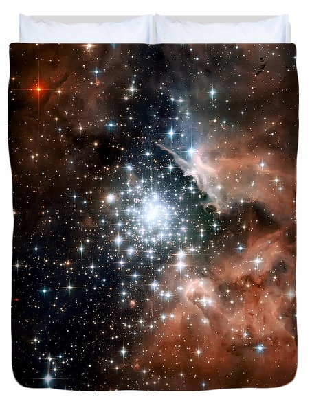 Red Smoke Star Cluster Duvet Cover by The  Vault - Jennifer Rondinelli Reilly
