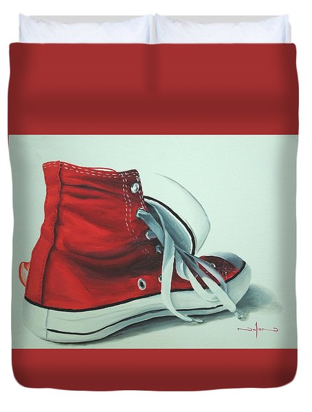 Red Sneakers Duvet Cover by Nolan Clark