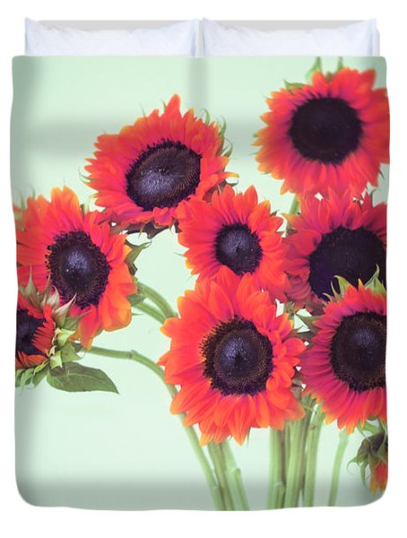 Red Sunflowers Duvet Cover by Amy Tyler