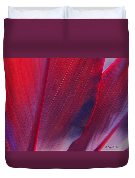 Red Ti Leaves At Last Light Duvet Cover by Kerri Ligatich