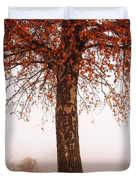 Red Tree Duvet Cover by Evgeni Dinev