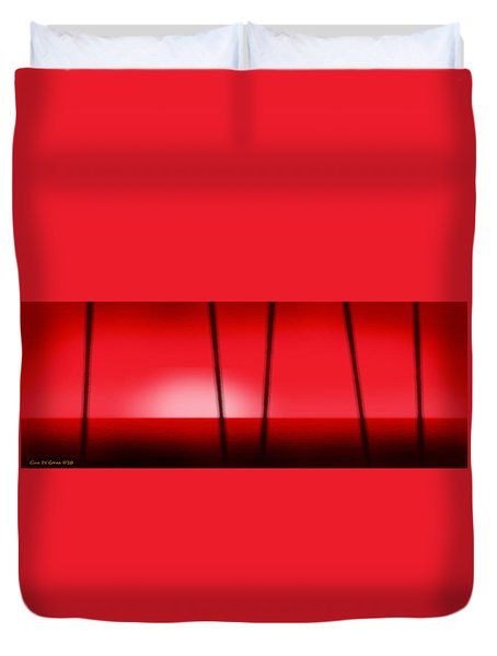 Red Tropical Abstract Sunset Duvet Cover by Gina De Gorna