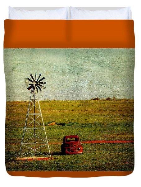 Red Truck Red Dirt Duvet Cover by Toni Hopper