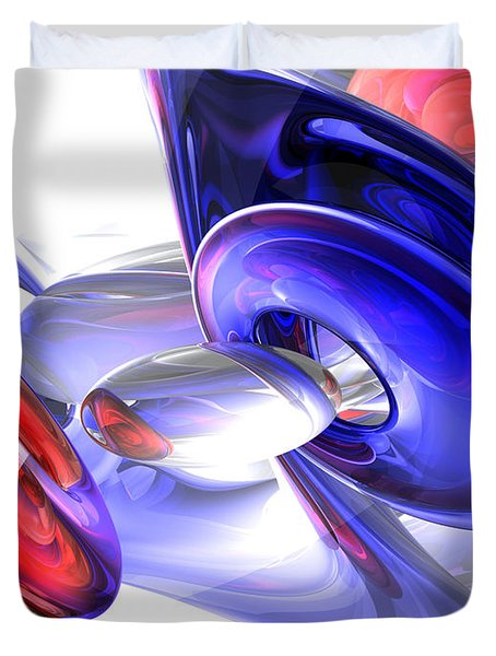 Red White and Blue Abstract Duvet Cover by Alexander Butler