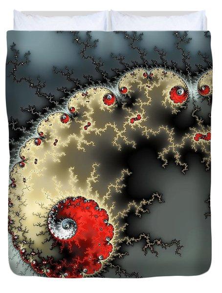 Red Yellow Grey And Black - Amazing Mandelbrot Fractal Duvet Cover by Matthias Hauser