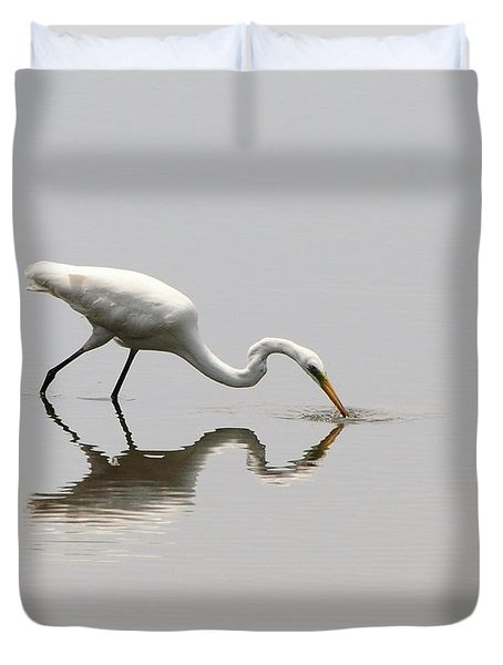 Reflecting Egret Duvet Cover by Al Powell Photography USA