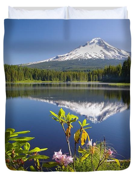 Reflection Of Mount Hood In Trillium Duvet Cover by Craig Tuttle