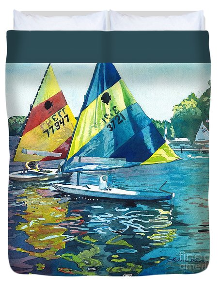 Reflections After The Race Duvet Cover by LeAnne Sowa