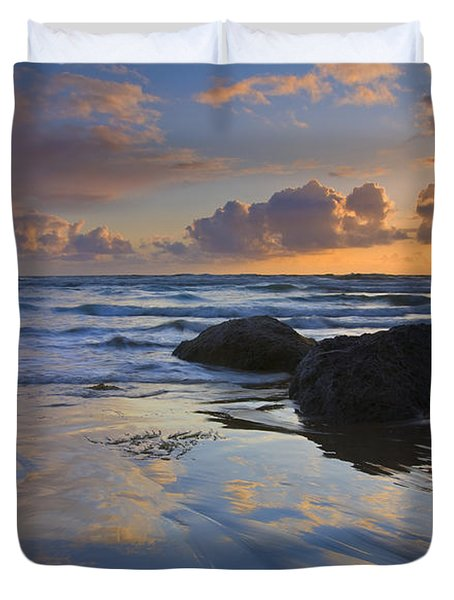 Reflections In The Sand Duvet Cover by Mike  Dawson