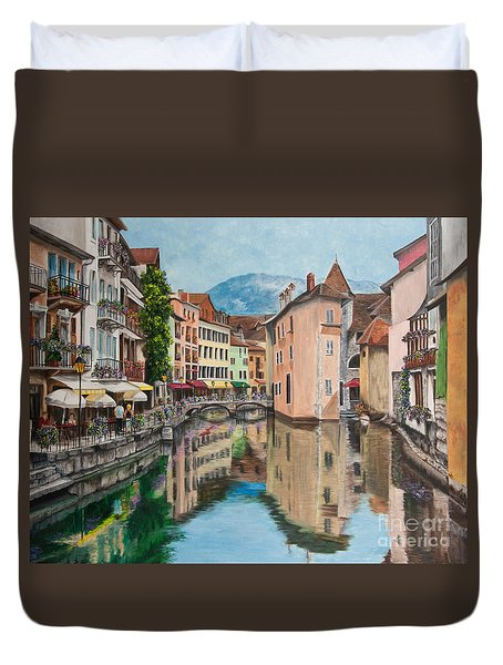 Reflections Of Annecy Duvet Cover by Charlotte Blanchard