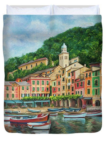 Reflections Of Portofino Duvet Cover by Charlotte Blanchard