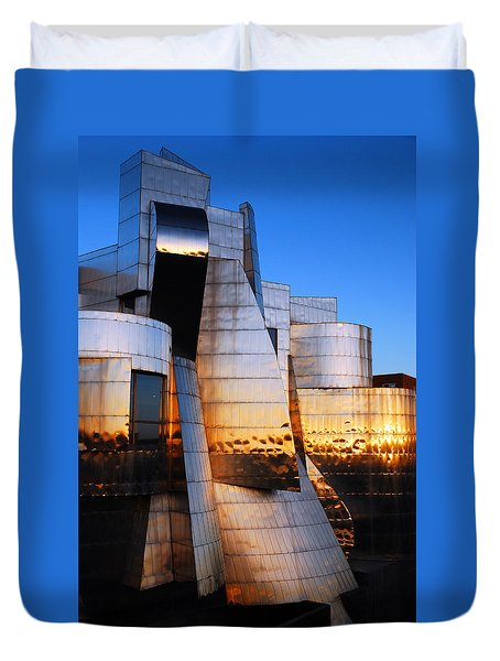 Reflections Of Sunset Duvet Cover by James Kirkikis