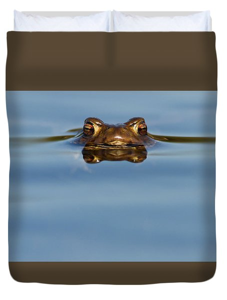 Reflections - Toad In A Lake Duvet Cover by Roeselien Raimond