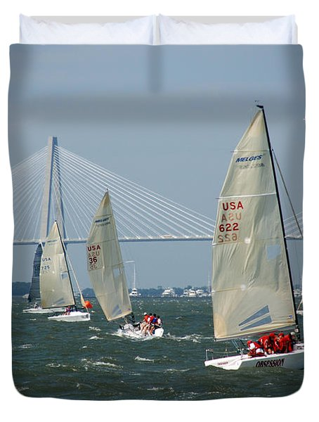 Regatta In Charleston Harbor Duvet Cover by Susanne Van Hulst